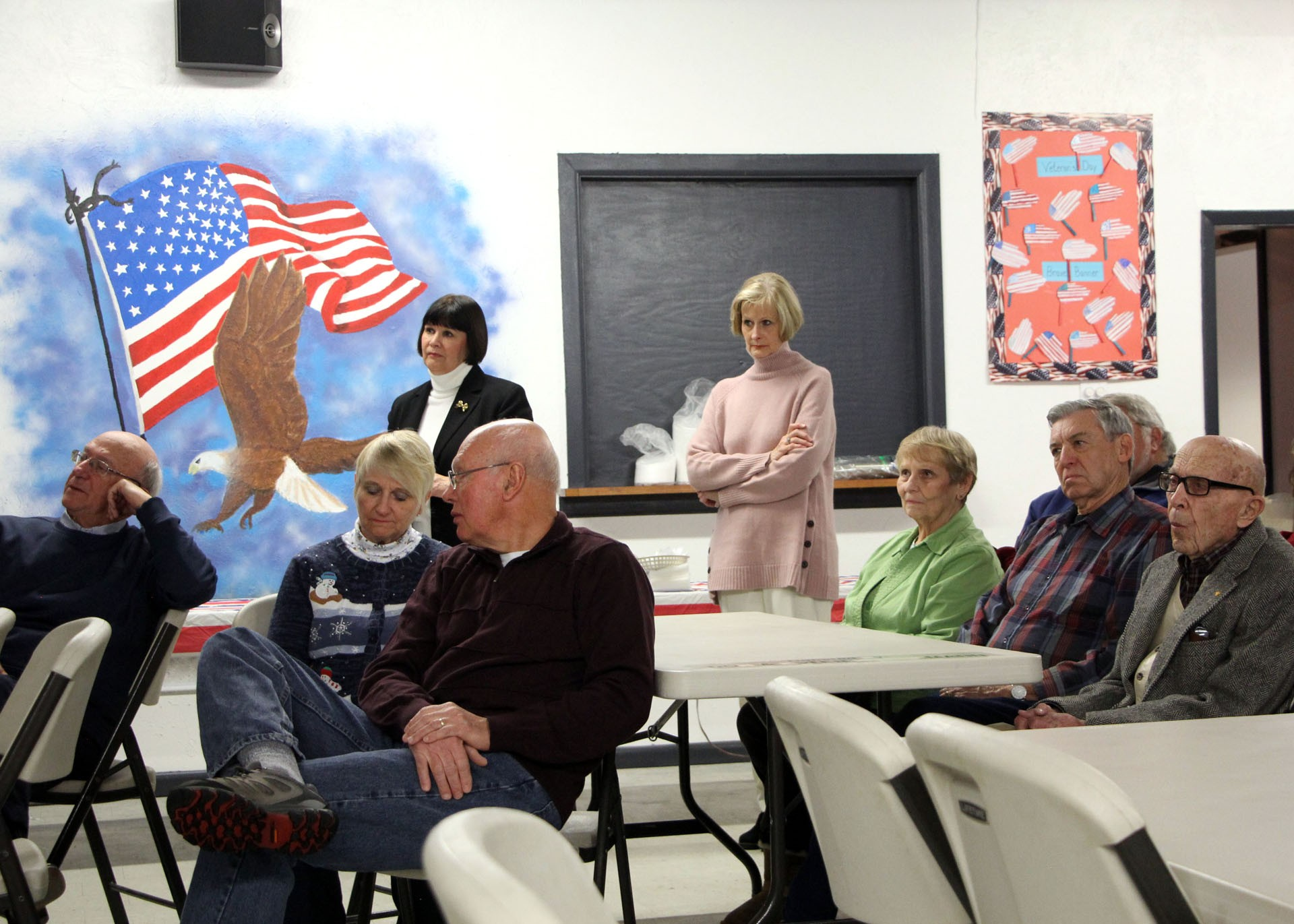 The audience watch the presentation of the Montana Congressional Veteran Commendation to local Frank Stoltz.STAR PHOTO/Sharon Moore