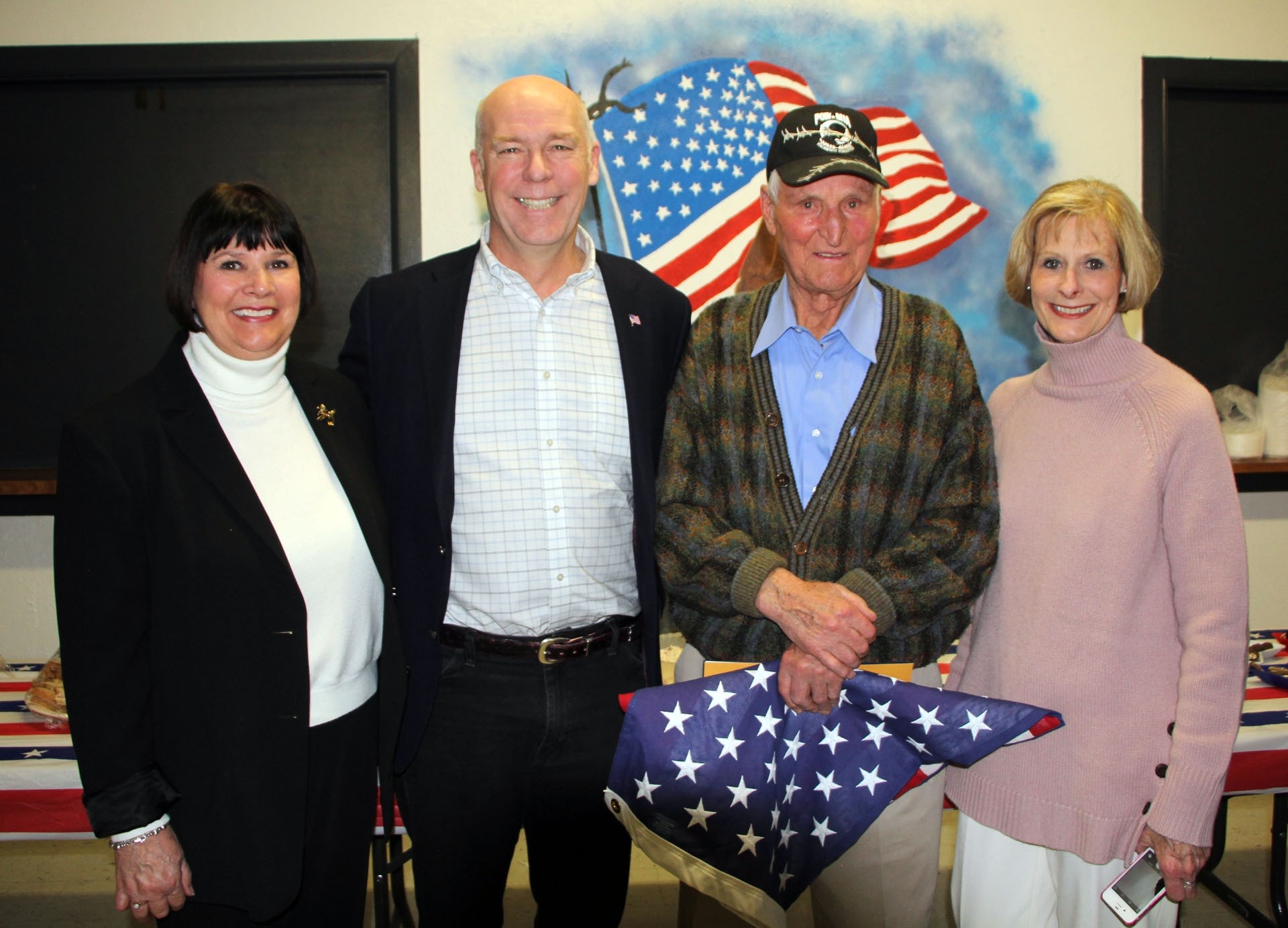 FROM LEFT: Melissa Hartman, U.S. Congressman Greg Gianforte, Frank Stoltz and Deborah Stoltz-Richardson pose for a picture. STAR PHOTO/Sharon Moore