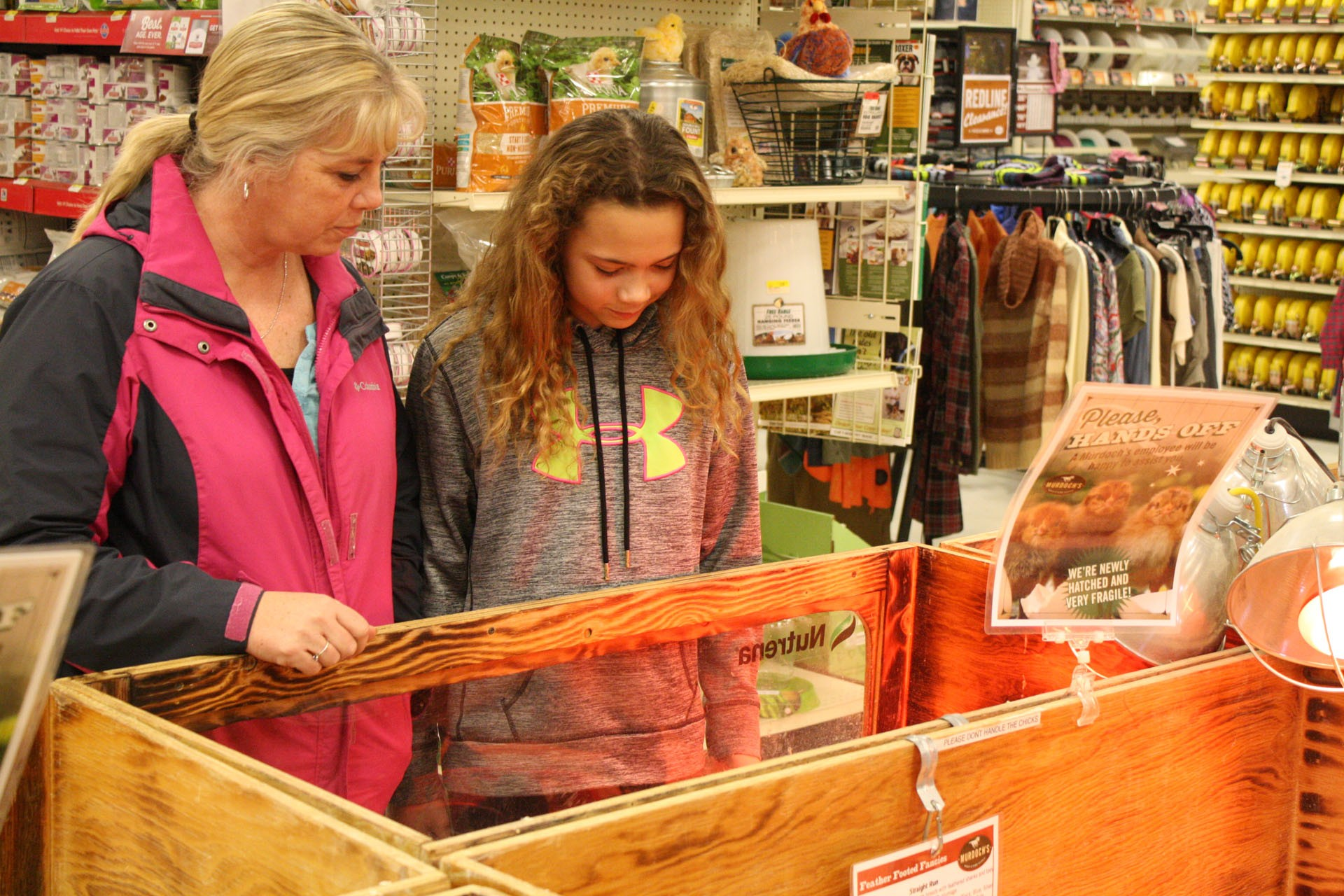 <strong>Tisha Roberts and her daughter Rylee, 11, came in from Kinsey to look at chicks. Rylee is raising a pig for her 4H program this year, and is considering getting a chicken for next year. Unlike some others, the Roberts were only interested in chickens for their eggs.</strong>