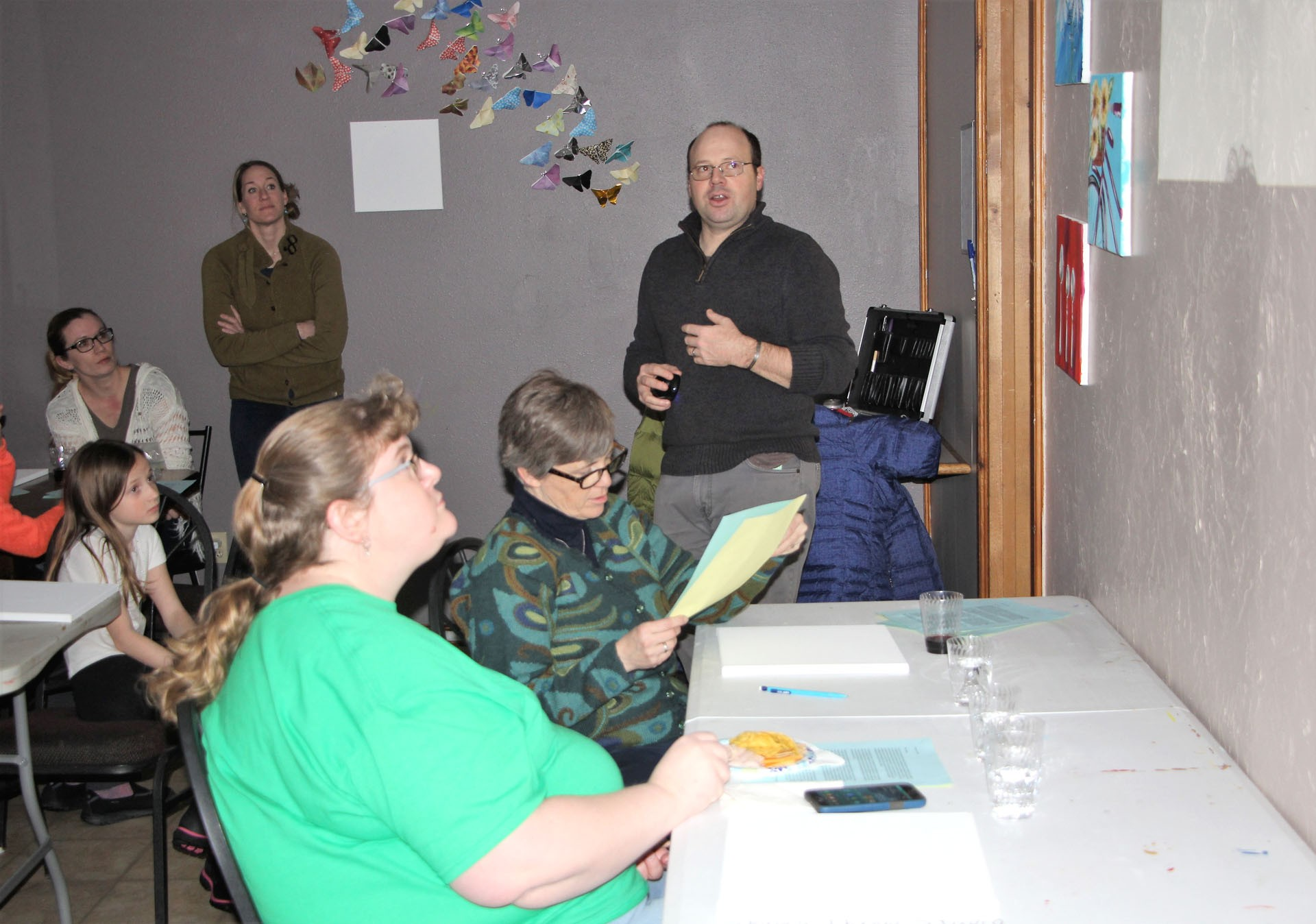 <strong>During the first Sip 'n Paint fundraiser in January, John Tooke presented information on the Poland trip he took a student on last year through the Candles Museum and Education Center. Tooke with the help of Keely Perkins plans on doing more Sip 'n Paint fundraisers. </strong>