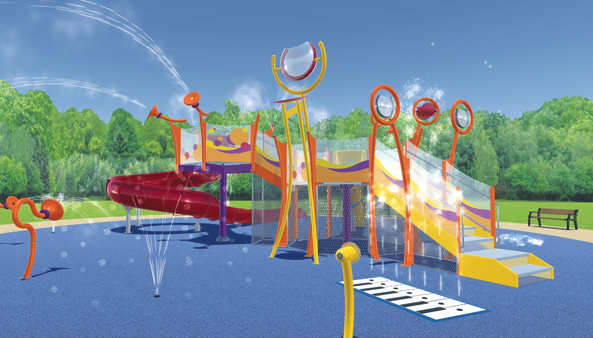 The splash pad is planned to take up 8,450 square feet in Wibaux Park, which would be larger than the neighboring frog pond. The pad will have ten different features, including a giant set of piano keys, numerous water jets, and slides for kids of all sizes. The group hopes to fund the $750,000 project within the next three years.SUBMITTED PHOTO