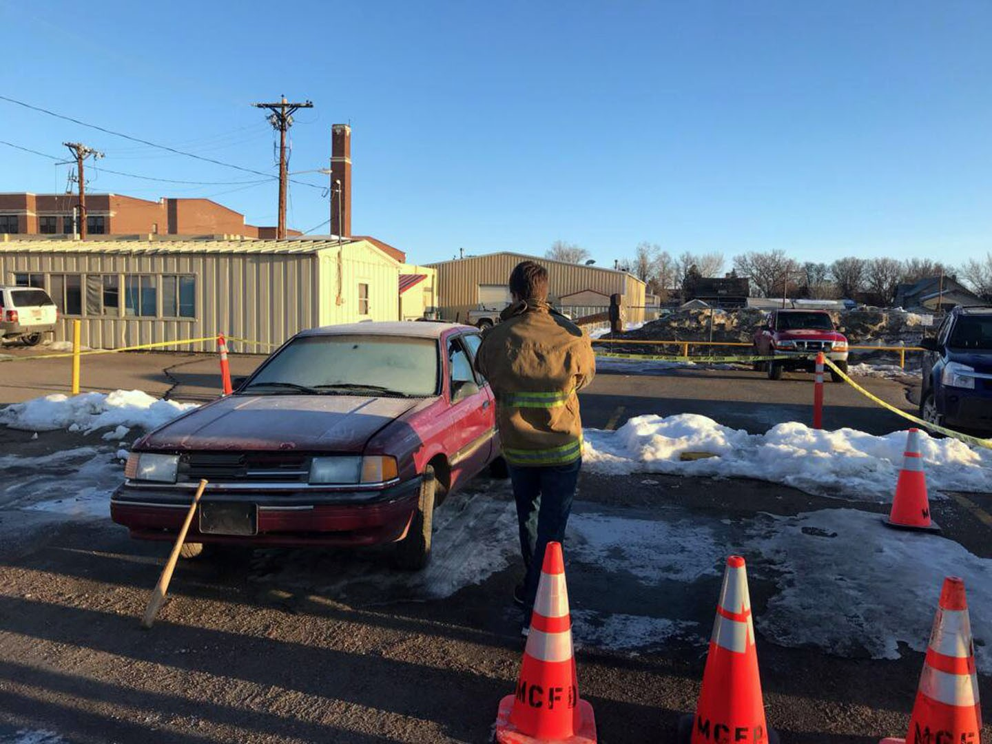 <strong>A CCDHS student gets ready to take a swing at the relatively pristine Ford Tempo at the beginning of the day on Wednesday. It took all day, but the sedan ended up looking like it had been in a bad wreck.</strong>