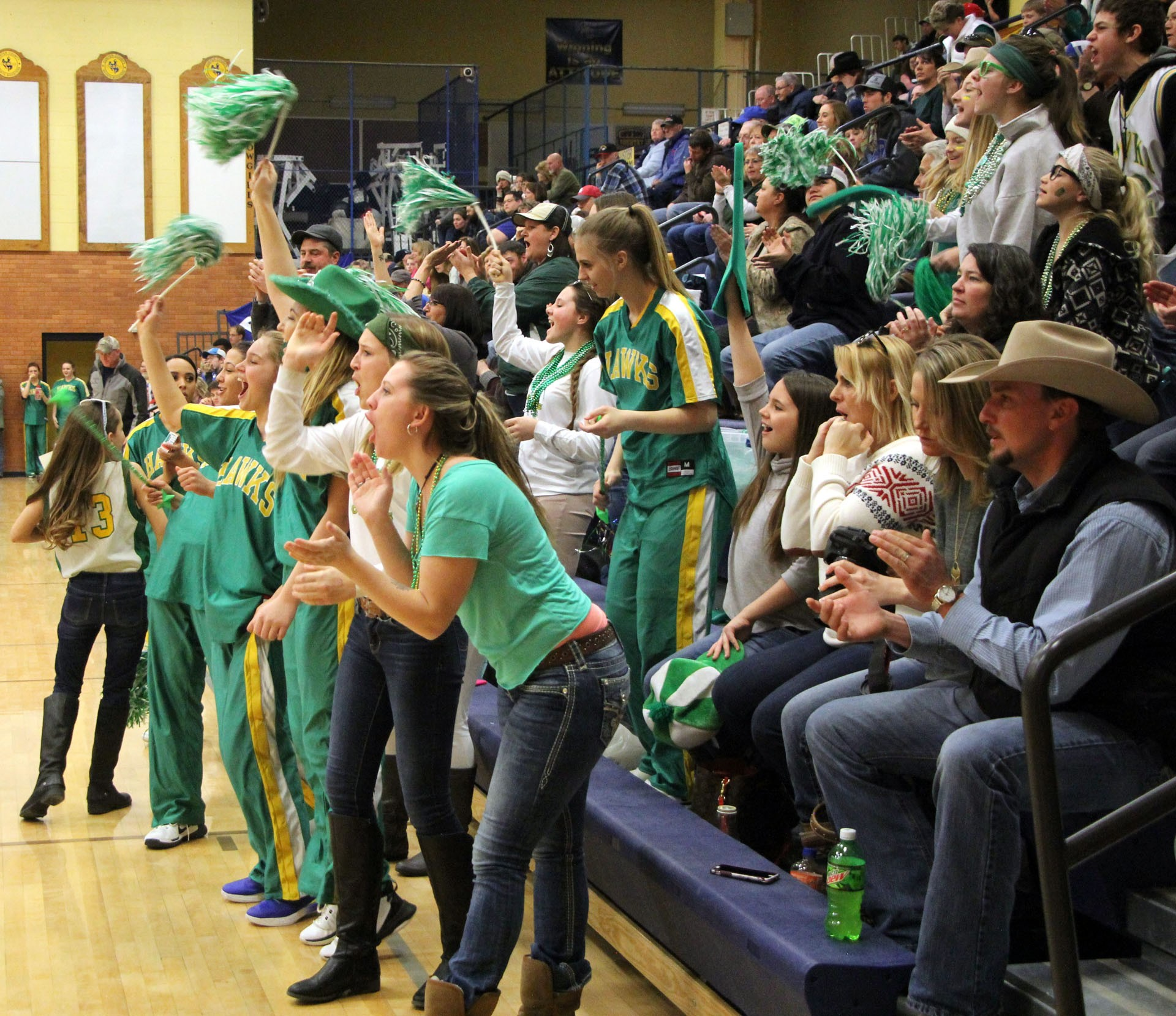 Broadus fans stood and cheered for their Hawks during Thursday's action at the 16-team 2018 Montana Class 4C basketball tournament — both boys and girls — at the Custer County District High School gymnasium.STAR PHOTO/Sharon Moore