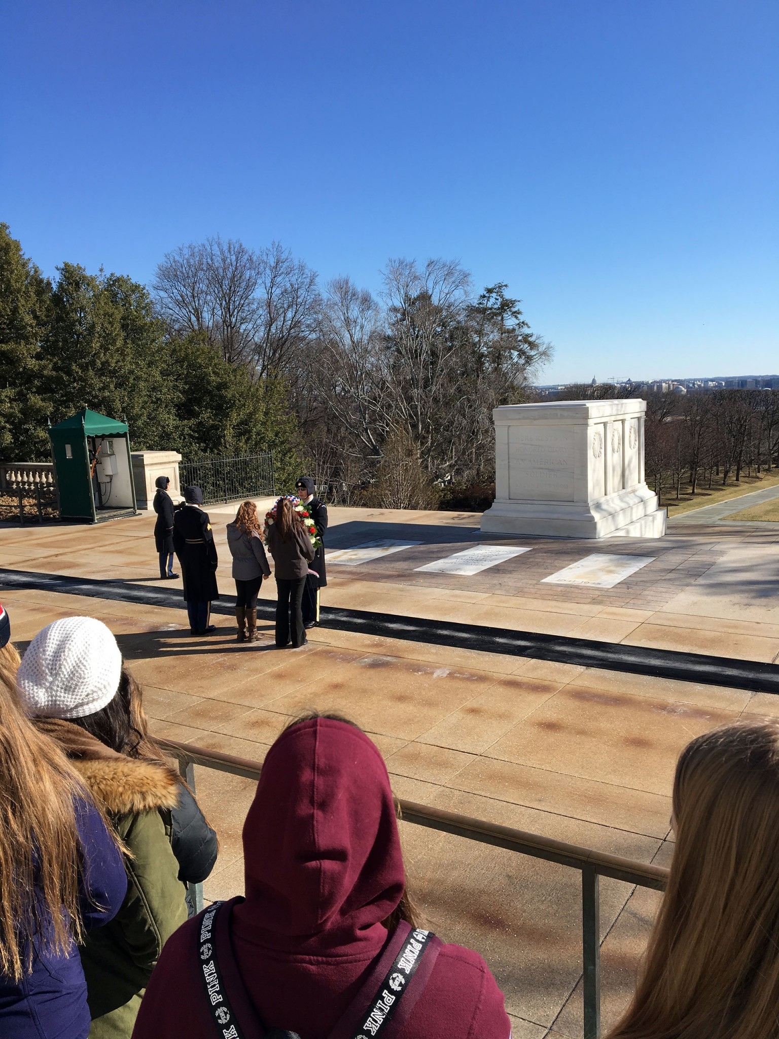 Kelly Rehm and Brianna Bean laid a wreath at the Tomb of the Unknown Soldier at Arlington National Cemetery.